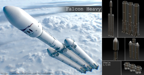 Falcon Heavy Rocket Model